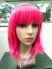 Neon bright pink bob wig