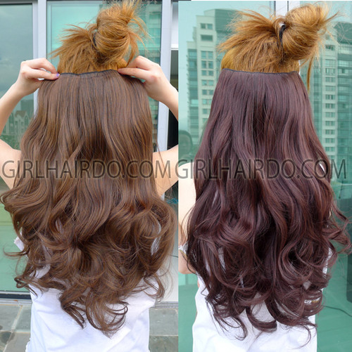 FK05 HAIR EXTENSIONS NON SHINY HEAT RESISTANT ONE BIG PIECE -BLACK, DARK BROWN, MEDIUM LIGHT BROWN