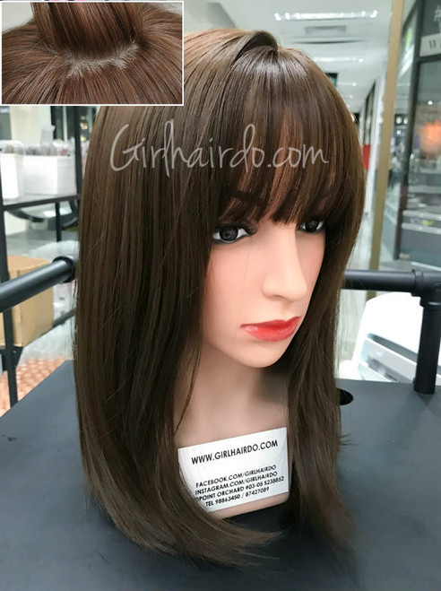 #new design mocha brown natural looking wig with fringe and layerings