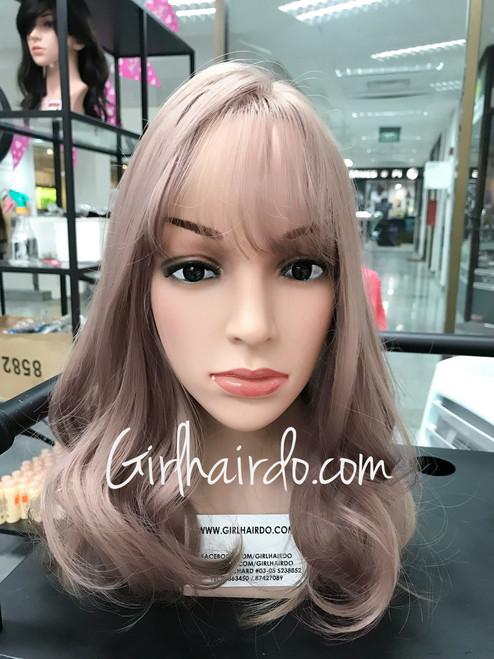 #1659 new design dusty pink shoulder length Korean style wig