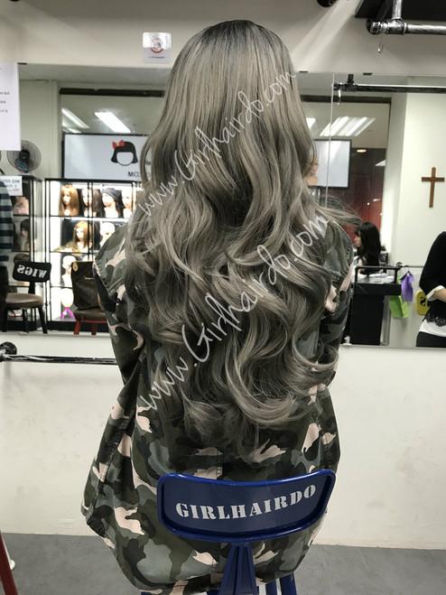 full greyish silverish hair extensions
