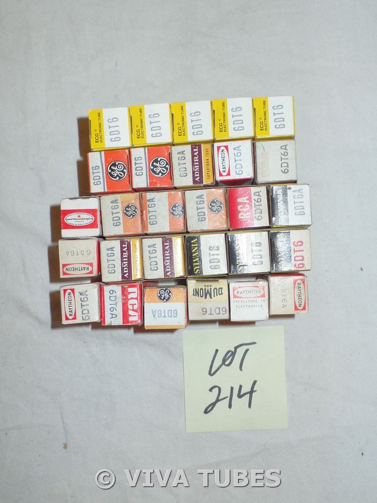 Lot of 28 6DT6 Boxed Vacuum Tubes. Untested Mixed Brands. Not NOS.
