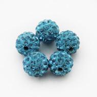 10mm Shamballa Beads - Aquamarine