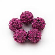 10mm Shamballa Beads - Fushia Pink