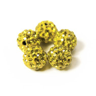 10mm Shamballa Beads - Lemon Yellow