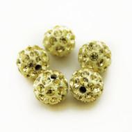 10mm Shamballa Beads - Light Yellow