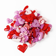 Two Hole Buttons Red & Pink Hearts Mix 50g