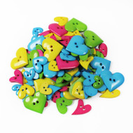 Two Hole Buttons Multi Coloured Hearts Mix 50g