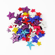 Two Hole Buttons Multi Coloured Stars Mix 50g