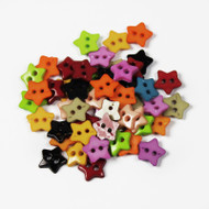 25 Tiny Star Buttons Assorted Colours