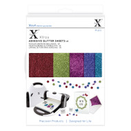 X-Cut A5 Adhesive Glitter Sheets - 5 dark colours including red, green, pink, purple and blue