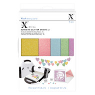 X-Cut A5 Adhesive Glitter Sheets - 5 pastel colours including yellow, pink, blue, green and purple