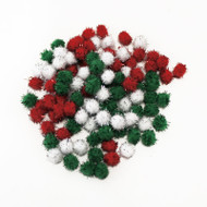 Darice Pom Poms Tinsel Xmas Red Green White 13mm