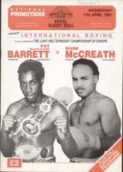 original programme for the Light Welterweight European Title Pat 'Black Flash' Barrett V Mark McCreath held at the Royal Albert Hall on 17 April 1991.