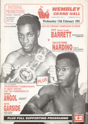 original programme for the Light Welterweight European Title bout Pat 'Black Flash' Barrett V Salvatore Nardino held at the Royal Albert Hall on 13 February 1991.
