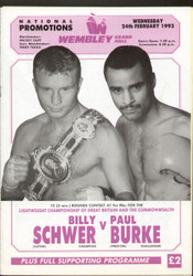 original programme for the Lightweight Commonwealth Title fight Billy Schwer V Paul Burke held at Wembley Grand Hall on 24 February 1993.