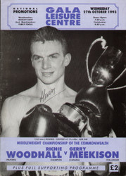 original programme for the Middleweight Commonwealth Title fight Richie Woodhall V Gerry Meekison held on 27 October 1993.