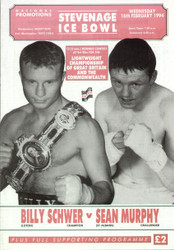 original programme for the Lightweight GB & Commonwealth Title fight Billy Schwer V Sean Murphy held at Stevenage on 16 February 1994.