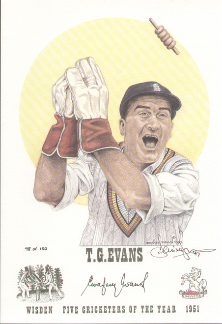portrait of Godfrey Evans, England & Kent, Wisden cricketer of the year 1951. The artwork is by official Wisden artist Denise Dean and is issued as a limited edition of 150, this being 98.