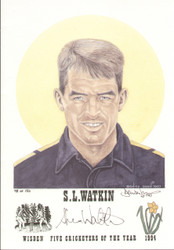portrait of Steve Watkin, England & Glamorgan, Wisden cricketer of the year 1994. The artwork is by official Wisden artist Denise Dean and is issued as a limited edition of 150, this being 98.