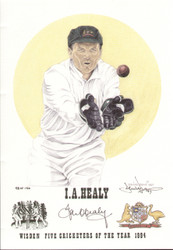 portrait of Ian Healy, Australia, Wisden cricketer of the year 1994. The artwork is by official Wisden artist Denise Dean and is issued as a limited edition of 150, this being 98.