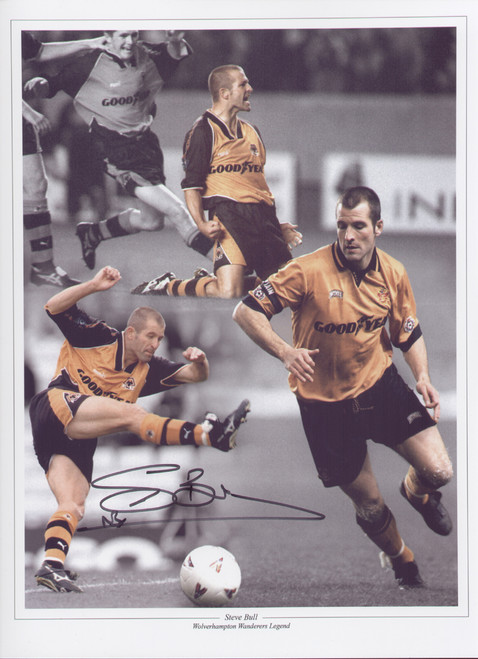 """Steve Bull made his debut for for Wolves in 1986 on went on to make over 400 appearances for Wolves between 1986 - 1999, scoring over 300 goals. This superb montage is 16""""x12"""" (405mm x 305mm)."""