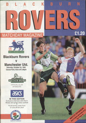 Original Official programme for the Premier League match Blackburn Rovers V Manchester United played on 24 October 1992.