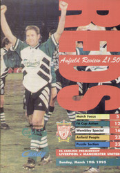 original Official programme for the Premier league match Liverpool V Manchester United played on 19 March 1995.