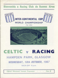 original Official 1967 World Club Championship 1st leg programme. The game, Celtic V Racing Club de Buenos Aires was played on 18 October 1967.