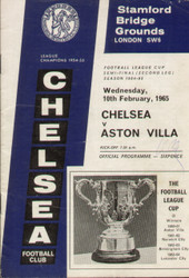 original Official 1965 League Cup Semi Final 2nd Leg programme. The game, Chelsea V Aston Villa was played on 10 February 1965.