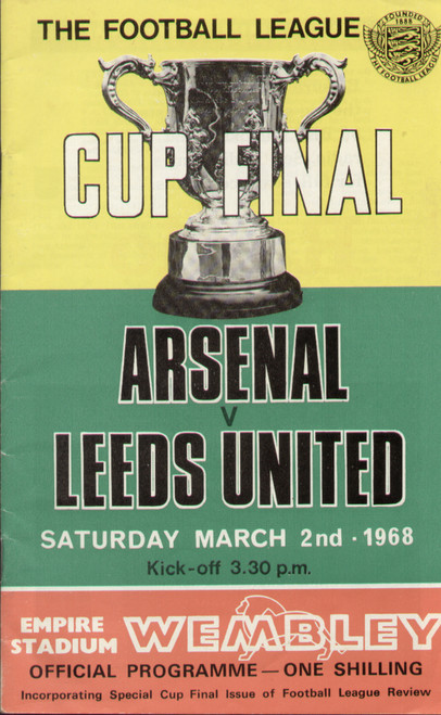 original Official 1968 League Cup Final programme. The game, Arsenal V Leeds United was played on 2 March 1968 at Wembley Stadium.