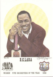portrait of Brian Lara, West Indies, Wisden cricketer of the year 1995. The artwork is by official Wisden artist Denise Dean and is issued as a limited edition of 150, this being 98.  The picture has been signed by the artist Denise Dean and is in very good condition. Good value and nice piece of cricket memorabilia.