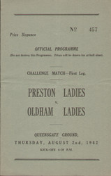 On offer is an original official programme for the challenge match Preston (Dick Kerr's) Ladies V Oldham Ladies, the game was played on 2 August 1962. An extremely rare programme from the period when womens football was banned by the FA, fantastic piece of football memorabilia.