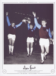 West Ham United's Alan Sealey, Bobby Moore and Martin Peters celebrate a 2-0 victory over TSV Munchen at Wembley in the 1965 European Cup Winners Cup Final.