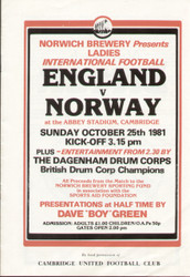 On offer is an original official programme for the International match England Ladies V Norway Ladies, the game was played on 25 October 1981. An increasingly rare programme and nice piece of football memorabilia.