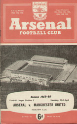 On offer is an original Official programme for the League Division 1 match Arsenal V Manchester United played on 23 April 1960 at Highbury.