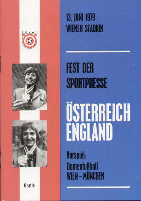 On offer is an original Official programme for the international friendly match Austria V England, the game was played on 13 June 1979.