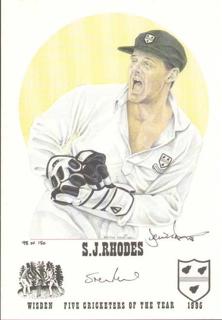 On offer is a portrait of Steve Rhodes, Worcestershire, Wisden cricketer of the year 1995. The artwork is by official Wisden artist Denise Dean and is issued as a limited edition of 150, this being 98.