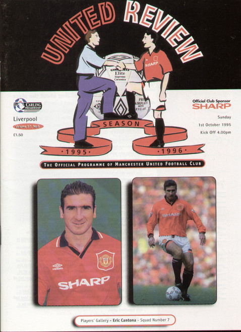 original Official programme for the Premier League match Manchester United V Liverpool, the game was played on 1 October 1995.