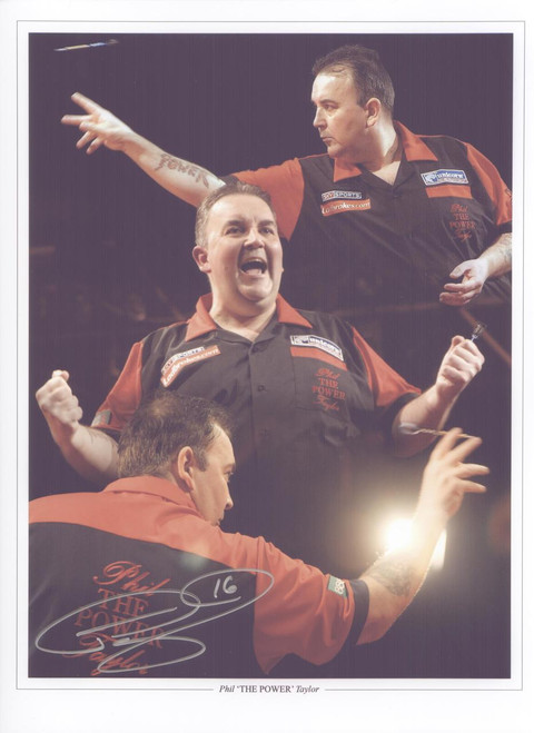 """Superb signed montage of Phil """"The Power"""" Taylor."""
