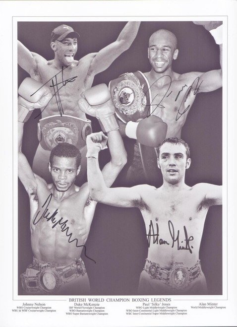 Superb montage signed by four British Boxing legends, Johnny Nelson, Duke McKenzie, Paul Jones & Alan Minter.