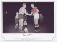 Manchester United captain Bill Foulkes shakes hands with Sheffield Wednesday captain Albert Quixall before United's first game post Munich, 19th February 1958. (FA Cup 5th Round).