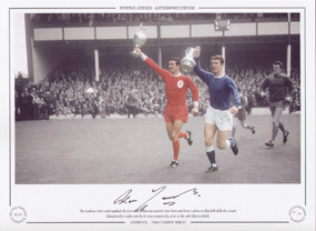 The Goodison Park crowd applaud the Liverpool and Everton captains Ron Yeats and Brian Labone as they hold aloft the League Championship trophy and the FA Cup respectively, prior to the 1966 Charity Shield.