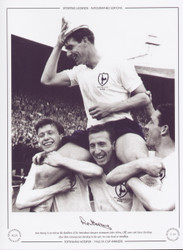 Ron Henry is carried on the shoulders of his Tottenham Hotspur teammates John White, Cliff Jones and Dave Mackay after their victory over Burnley in the 1962 FA Cup Final at Wembley.