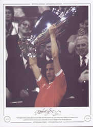 Nottingham Forest captain John McGovern holds aloft the European Cup, after victory over Malmo FF of Sweden in 1979. A goal from Trevor Francis secured a memorable victory for manager Brian Clough and his team.