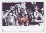 Manchester United's Jimmy Nicholl, Jimmy Greenhoff & Alex Stepney celebrate after defeating Liverpool 2-1 in the 1977 FA Cup Final.