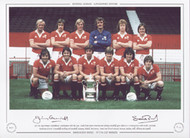 1977 FA Cup winners Manchester United pose with the Cup. Goals from Stuart Pearson and Jimmy Greenhoff gave them a 2-1 victory over arch rivals Liverpool.