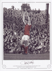 Arsenal's Charlie George celebrates scoring the winning goal against Newcastle United in a crucial League division 1 encounter at Highbury, during the 1970/71 season.