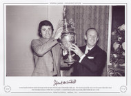 Arsenal captain Frank McLintock and manager Bertie Mee pose with the League Championship trophy in 1971.