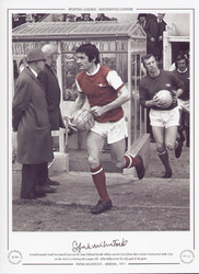 Arsenal captain Frank McLintock leads out his team, followed by Bob Wilson and Pat Rice, before their crucial victory over Stoke City on the run in to winning the League title. Eddie Kelly scored the only goal of the game.